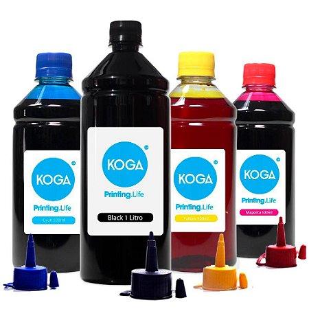 Kit 4 Tintas para Epson L120 Black 1 Litro Coloridas 500ml Corante Koga
