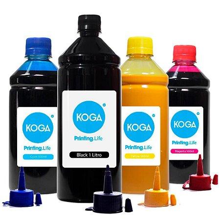 Kit 4 Tintas Sublimática para Epson L495 Ecotank Black 1 Litro e Coloridas 500ml Koga