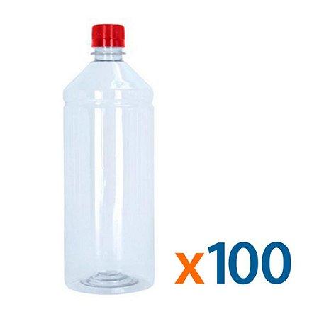 Frasco Transparente Cristal com Tampa Vermelha 1 Litro 100 Unidades