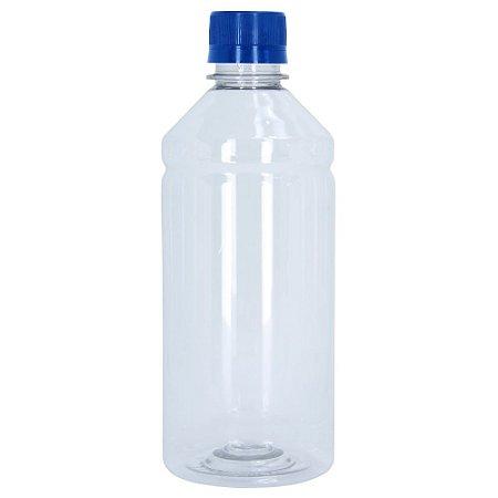 Frasco Transparente Cristal com Tampa Azul 500ml 50 Unidades