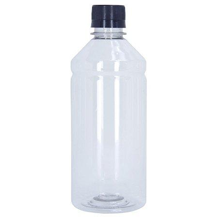 Frasco Transparente Cristal com Tampa Preta 500ml 100 Unidades