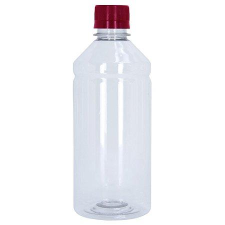 Frasco Transparente Cristal com Tampa Vermelha 500ml 100 Unidades