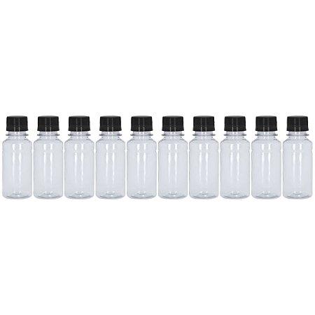 Frasco Transparente Cristal com Tampa Preta 100ml 10 Unidades