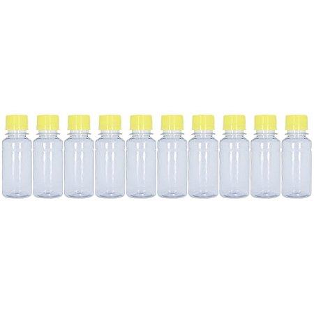 Frasco Transparente Cristal com Tampa Amarela 100ml 10 Unidades