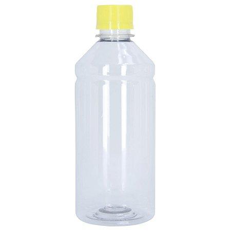 Frasco Transparente Cristal com Tampa Amarela 500ml 50 Unidades