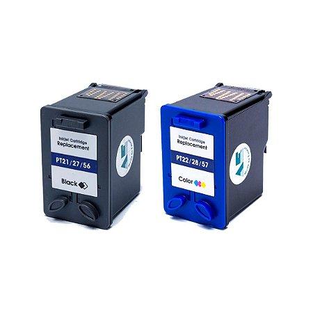 Kit Cartucho HP 21   27   56   22   28   57 Preto e Color Compatível