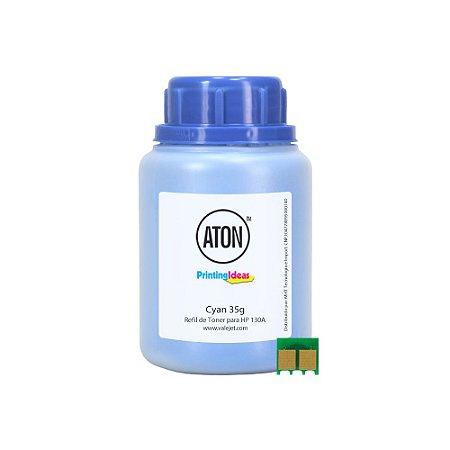 Refil de Toner ATON + Chip Para HP 130A | M177FW | M176N Cyan 35g