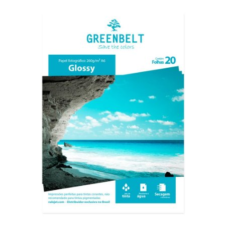Papel Fotográfico A6 10x15 Glossy 260g Greenbelt 20 folhas