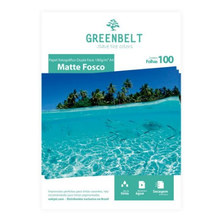 Papel Fotográfico A4 Matte Fosco 180g Dupla Face Greenbelt 100 Folhas