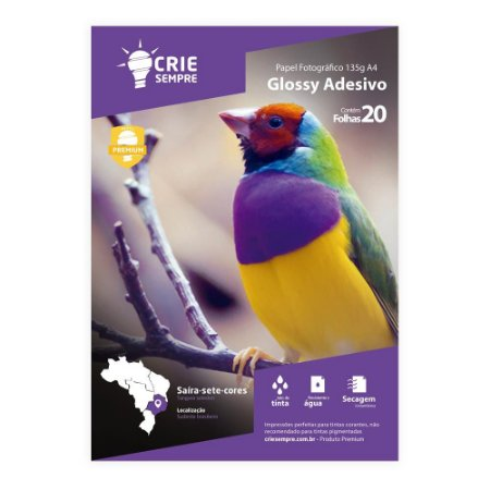 Papel Fotográfico Glossy Adesivo A4 135g Crie Sempre 20 folhas