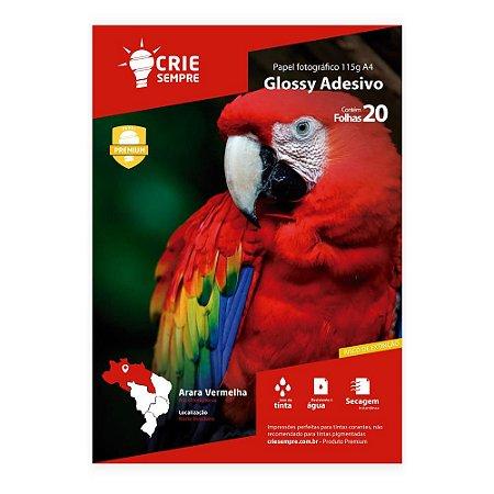 Papel Fotográfico Glossy Adesivo A4 115g Crie Sempre 20 folhas