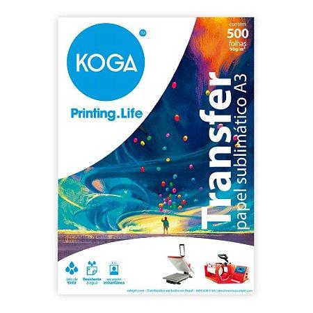 Papel Transfer A3 para Sublimação 90g Resinado 500 Folhas Koga