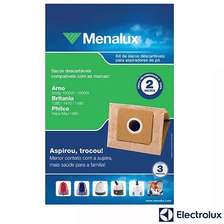 Saco para Aspirador de Pó Menalux SIM02 Electrolux 3 Unidades