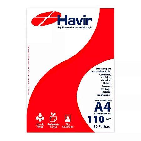 Papel A4 para Sublimação Tratado Havir R90 110g 50 folhas