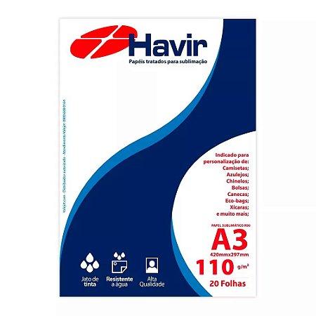 Papel A3 para Sublimação Tratado Havir R90 110g 20 folhas