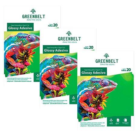 Kit 3 Pacotes com 20 folhas de Papel Fotográfico Glossy Adesivo A3 135g Greenbelt