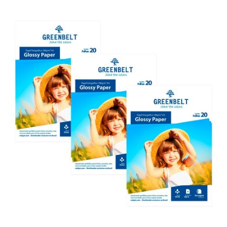 Kit 3 Pacotes de 20 folhas Papel Glossy A4 180g Greenbelt