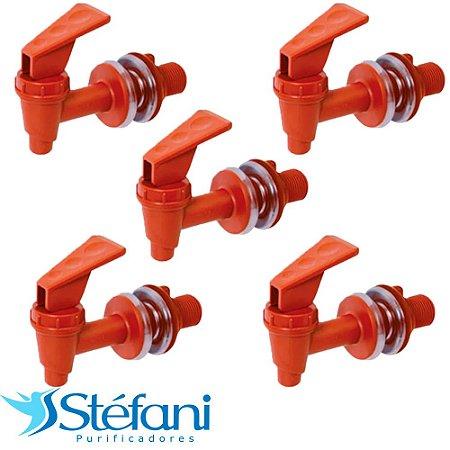 Kit 5 Torneiras para Filtro de Água Stéfani Clic Marrom PVC