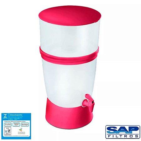 Kit Filtro de Água de Plástico Seleto 10 Litros Vermelho + Vela Cerâmica Tradicional