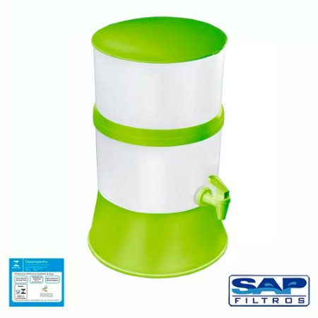 Filtro de Água Compacto com Vela Cerâmica Verde + Vela Cerâmica Tradicional