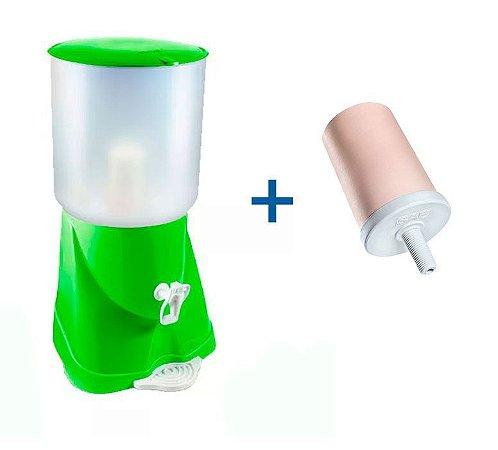 Filtro de Água de Plástico Max Fresh Verde + Vela Cerâmica Tradicional