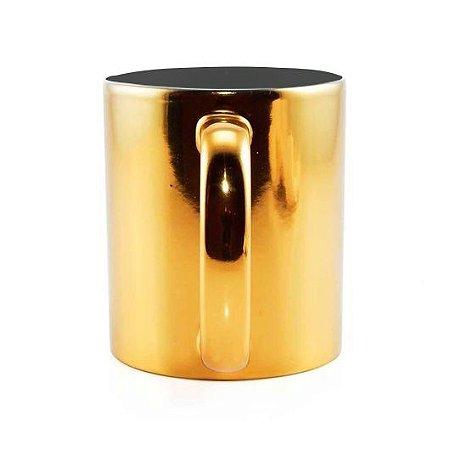 Caneca para Sublimação de Cerâmica Espelhada Dourada   Interior Preto
