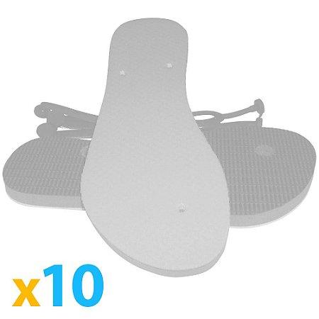 Kit 10 Chinelos para Sublimação Masculino Branco nº35/36