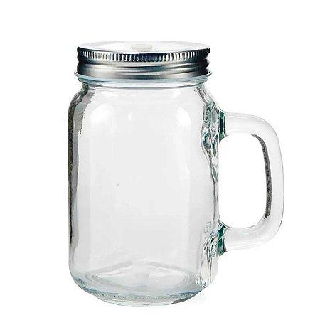 Caneca Mason Jar de Vidro Cristal para Sublimação