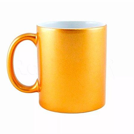 Caneca para Sublimação de Cerâmica Perolada Dourada | Interior Branco