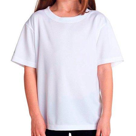 Camiseta Branca 100% Poliéster Gola Redonda Infantil para Sublimação (Tam 16)