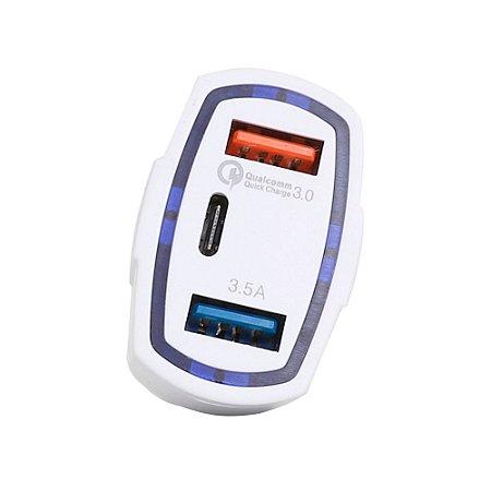 Carregador Veicular 1 x USB Quickcharger 3.4A0 -QC3.0 +  1 x USB-C - MOB