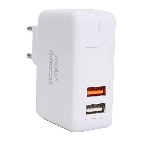 Carregador Tomada 2 Portas - USB-A + USB c/ Quickcharger - QC 3.0 - MOB