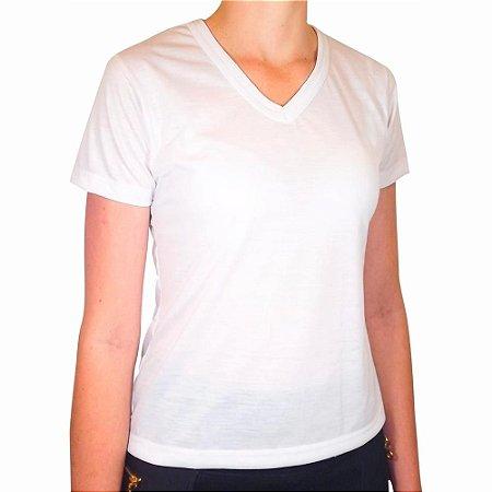 Camiseta Baby Look Branca 100% Poliéster para Sublimação Manga Curta Gola V Feminina G