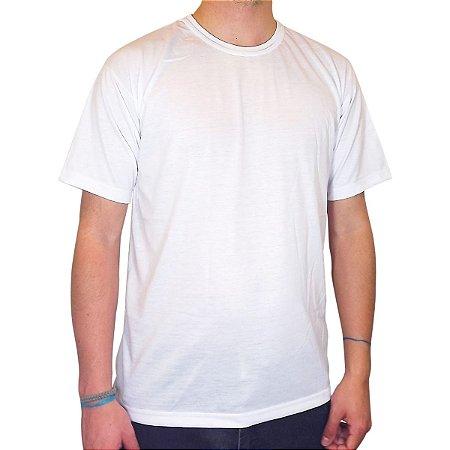 Camiseta Branca de Poliéster para Sublimação Gola Redonda Adulto EG