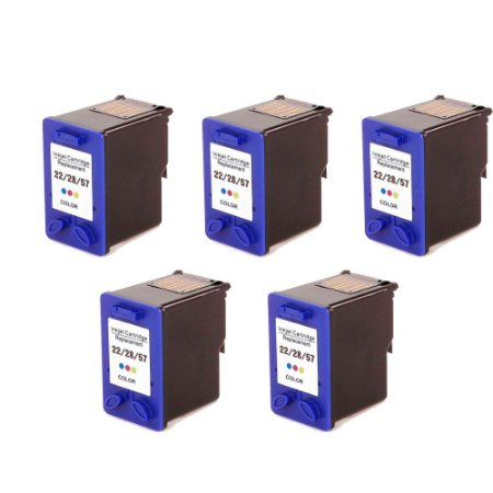 Kit 5 Cartucho HP 22   C9352A   28   C8728AL   57   C6657AL Universal Colorido Compatível 14ml