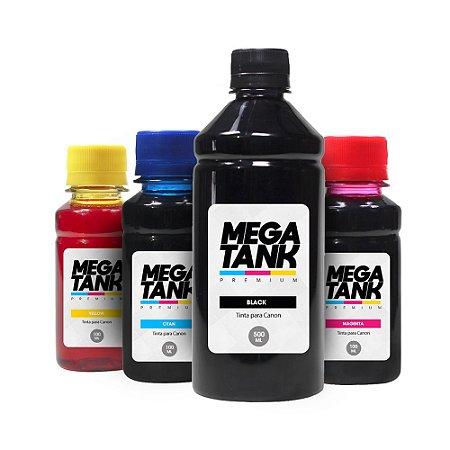 Kit 4 Tintas para Canon Gl 190 Black 500ml Coloridas 100ml Mega Tank