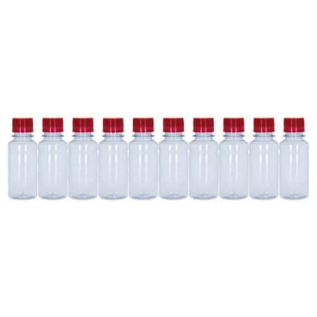 Frasco Transparente Cristal Com Tampa Vermelha 100ml 10 unidades