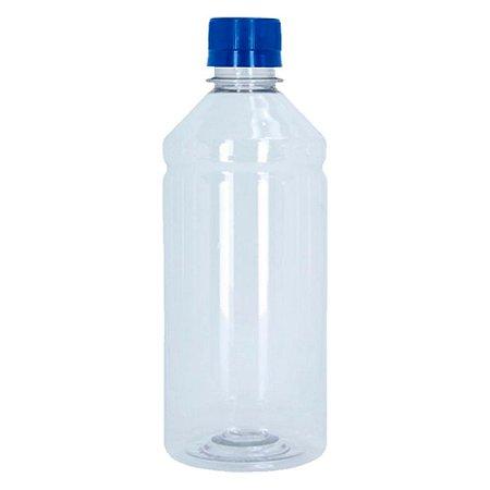 Frasco Transparente Cristal com Tampa Azul 500ml 100 Unidades