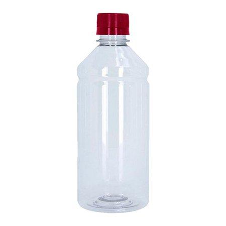 Frasco Transparente Cristal Com Tampa Vermelha 500ml 50 unidades