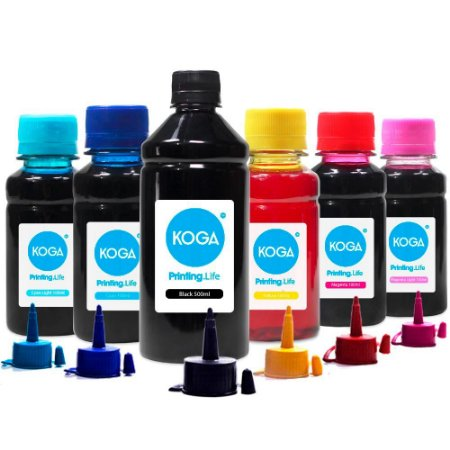 Kit 6 Tintas Epson L805 Black 500ml Coloridas 100ml Koga