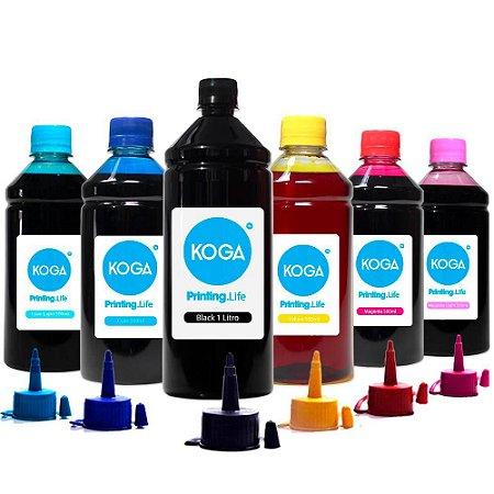 Kit 6 Tintas para Epson L805 Black 1 Litro Color 500ml Corante Koga