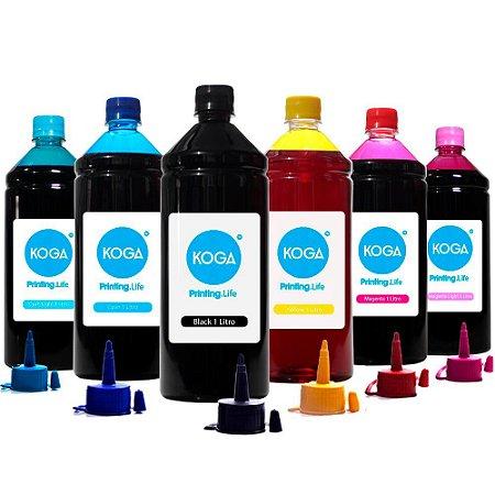 Kit 6 Tintas Epson Bulk Ink L805 CMYK Corante 1 Litro Koga