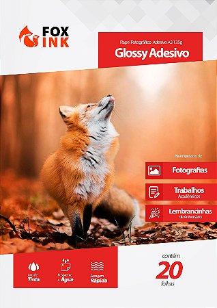Papel Fotográfico Glossy Adesivo A3 135g Fox Ink 20 Folhas