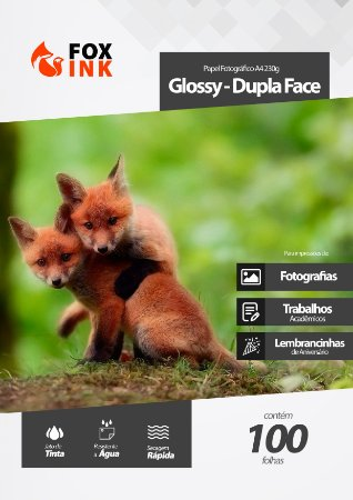 Papel Fotográfico A4 Glossy 230g Dupla Face Fox Ink 100 Folhas