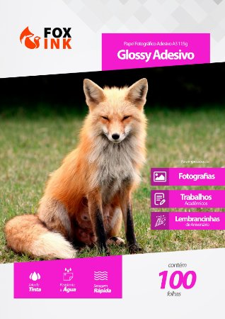 Papel Fotográfico Glossy Adesivo A3 115g Fox Ink 100 Folhas