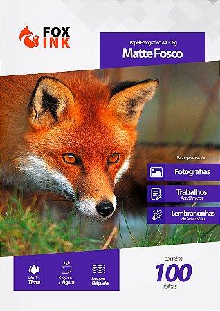 Papel Fotográfico Matte Fosco A4 108g Fox Ink 100 Folhas