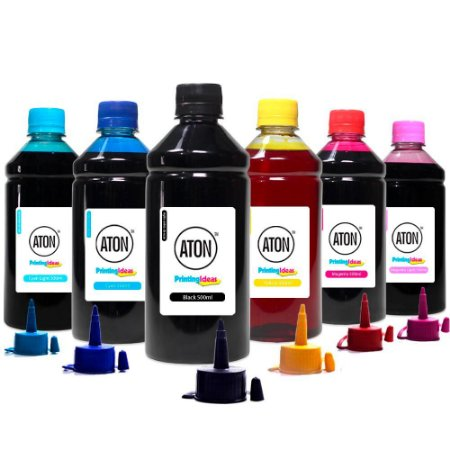 Kit 6 Tintas Epson Bulk Ink L805 CMYK 500ml Corante Aton