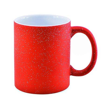 Caneca Mágica Fosca Vermelha com Glitter