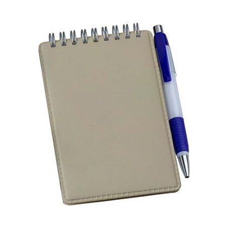 Caderneta de Anotações em Couro Sintético Bege