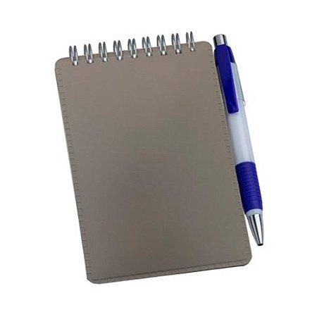 Caderneta de Anotações em Couro Sintético Cinza
